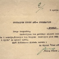 Glavni odbor AFŽ-a BiH_godišnji planovi rada sekretarijata i sekcija i sekcije Majka i dijete za mjesec april_09.04.1949_Sarajevo.pdf